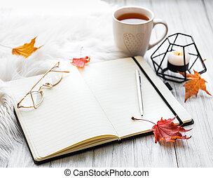 automne, composition, maison, confortable