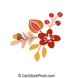automne, composition, saisonnier, isolé, thanksgiving, parfait, blanc, elements., fetes, poser, érable, vecteur, jour, bouquet, orange, plat, feuilles, baies, arrière-plan.
