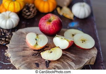 automne, concept, table, bois