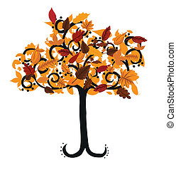 automne, conception, arbre, ton, illustration