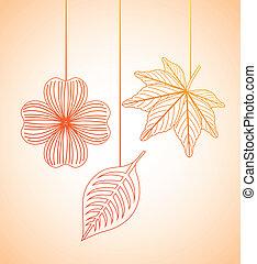 automne, conception, fleurs