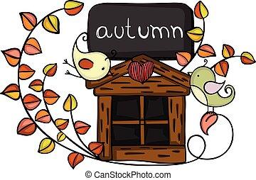 automne, conception, oiseaux, élément