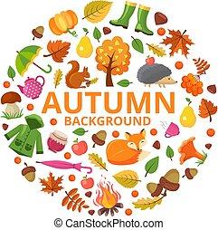 automne, conceptions, animaux, feuilles, collection, circle., symboles, orange, forme, vecteur, jaune, branche, automne, décoration florale, rond