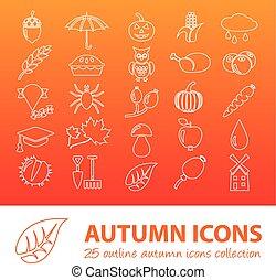 automne, contour, icônes