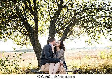 automne, coucher soleil couples, jeune, étreindre