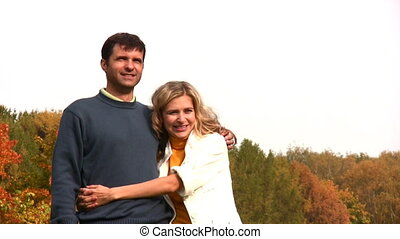 automne, couple, bois