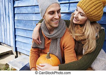 automne, couple, jour, aimer
