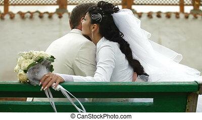 automne, couple, mariés, parc, juste