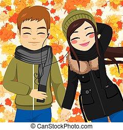 automne, couple, musique écouter