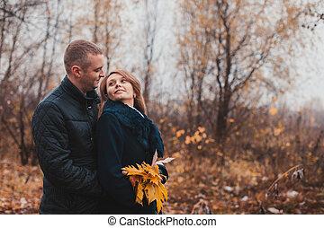 automne, couple, parc, heureux