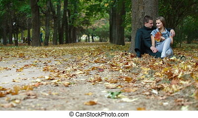 automne, couple, parc, jeune