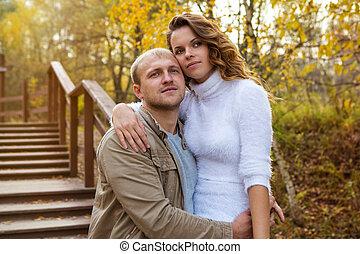 automne, couple, parc, marche