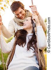 automne, couple, parc, romantique