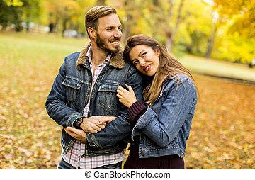 automne, couple, parc, sourire, étreindre