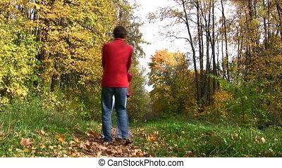 automne, couple, tourner, parc
