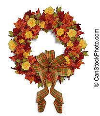automne, couronne, floral, automne