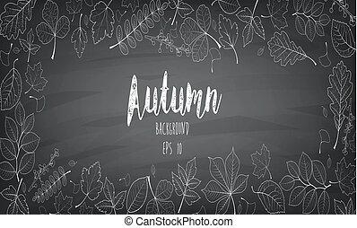 automne, craie, feuilles, écrit