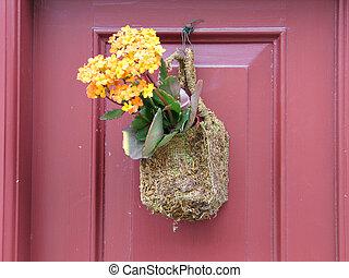 automne, décoré, porte
