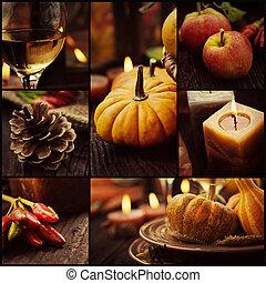 automne, dîner, collage