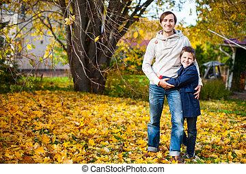 automne, dehors, père, jour, fils