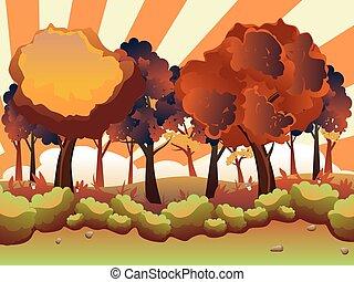 automne, dessin animé, forêt