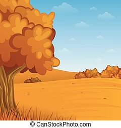 automne, dessin animé, paysage
