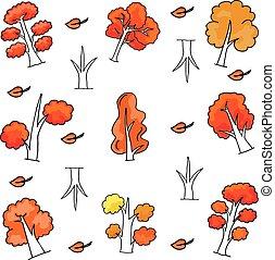 automne, doodles, ensemble, arbre
