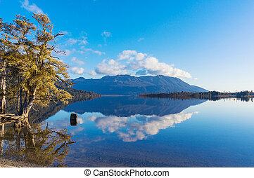 automne, eaux, lac, paysage, reflété