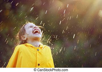 automne, enfant, pluie, sous
