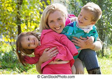 automne, enfants, parc, deux, mère