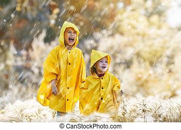 automne, enfants, pluie, sous