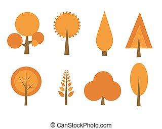 automne, ensemble, arbres, illustration, vecteur