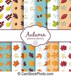 automne, ensemble, arrière-plans, seamles