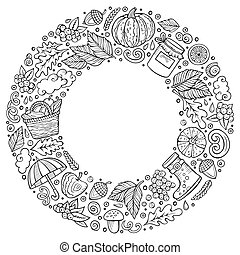 automne, ensemble, articles, symboles, griffonnage, objets, dessin animé