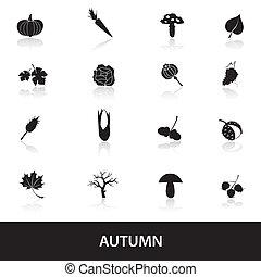 automne, ensemble, eps10, icônes