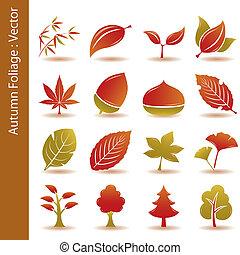 automne, ensemble, feuille, feuillage, icônes