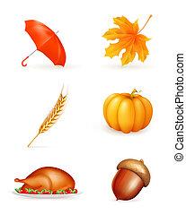 automne, ensemble, icône