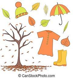 automne, ensemble, parapluie, imperméable, articles, bottes, feuilles, caoutchouc, chapeau