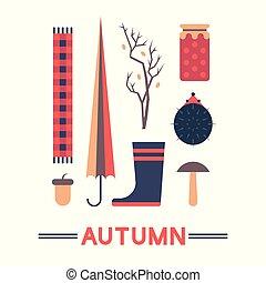 automne, ensemble, vecteur, illustration, icône