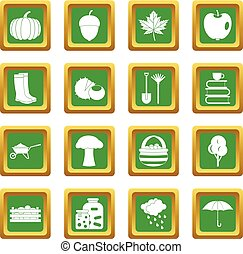 automne, ensemble, vert, icônes