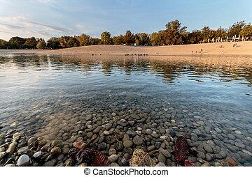 automne, ensoleillé, parc, lac, jour