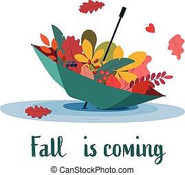 automne, entiers, parapluie, leaves., coloré