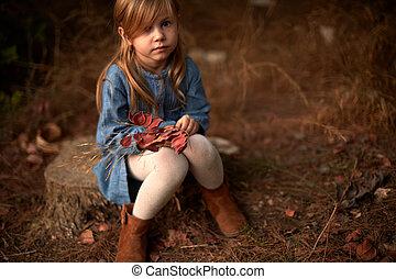 automne, entrez, les, champ, et, dans, les, forêt