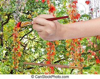 automne, escalade, plante, feuilles, rouges