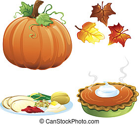 automne, et, automne, icônes