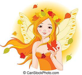 automne, fée, feuille