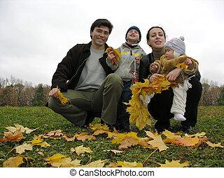 automne, famille, four.