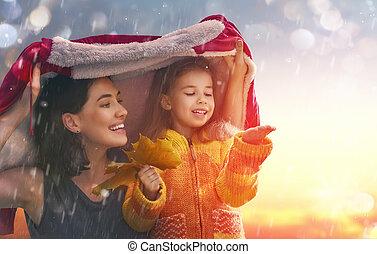 automne, famille, promenade