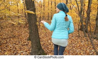 automne, femme, forêt