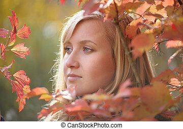 automne, femme